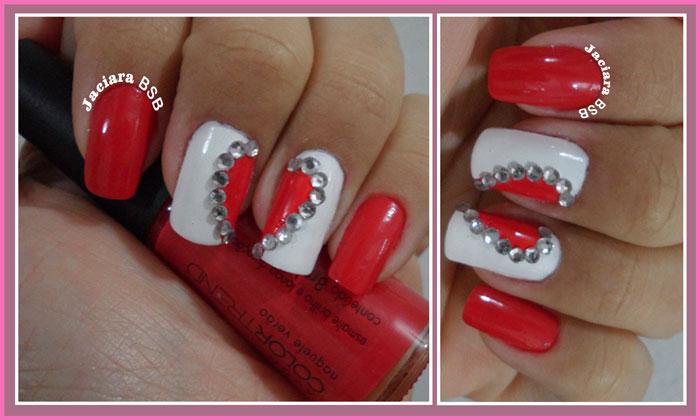 diy nails unhas Com corações e estraz
