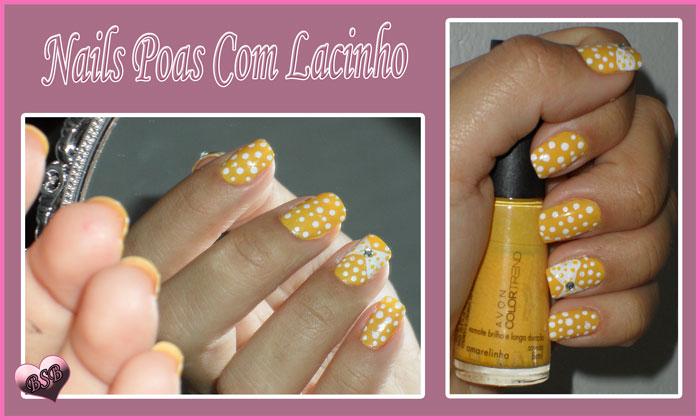 Nails arte unhas de poas com lacinho