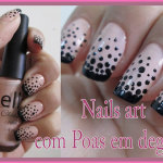 Nails art Com Poas em Degrade
